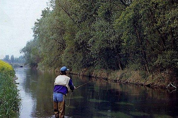 l'auteur, Claude Behr, en action sur le contre-canal de drainage à Plobsheim