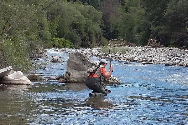 Loïc on an alpine river